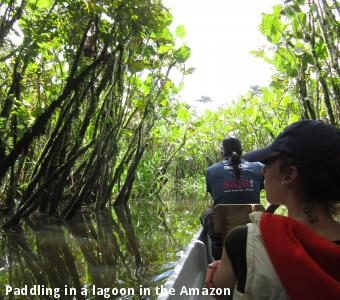 Paddling in a lagoon in the Amazon