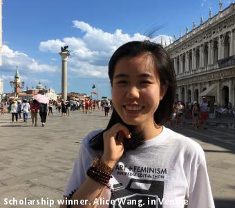 Scholarship winner, Alice Wang, in Venice