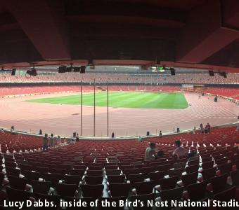 Lucy Dabbs, inside of the Bird's Nest National Stadium