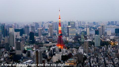 A view of Tokyo Tower and the city skyline