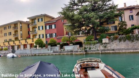Buildings in Sirmione, a town in Lake Garda.