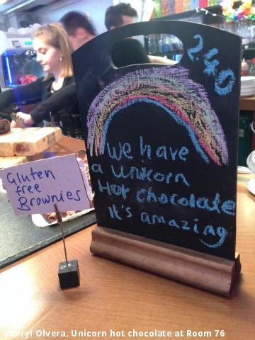 Cheryl Olvera, Unicorn hot chocolate at Room 76